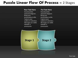 Puzzle Linear Flow Of Process 2 Stages Best Flowchart Powerpoint Slides