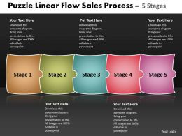 Puzzle Linear Flow Sales Process 5 Stages Best Flowchart Powerpoint Slides
