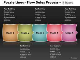 Puzzle Linear Flow Sales Process 5 Stages Best Flowchart Powerpoint Slides