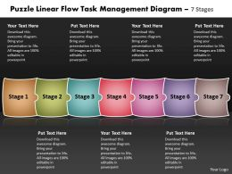 Puzzle Linear Flow Task Management Diagram 7 Stages Best Flowchart Powerpoint Slides