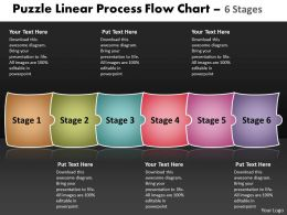 Puzzle Linear Process Flow Chart 6 Stages Make Charts Powerpoint Templates