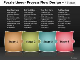 Puzzle Linear Process Flow Design 4 Stages Make Charts Powerpoint Templates