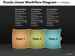 Puzzle Linear Workflow Diagram 3 Stages Best Chart Powerpoint Slides