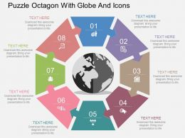 Puzzle Octagon With Globe And Icons Flat Powerpoint Design