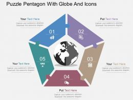 Puzzle Pentagon With Globe And Icons Flat Powerpoint Design