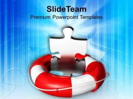 Puzzle Piece In Lifeguard Help Savings PowerPoint Templates PPT Themes And Graphics 0213
