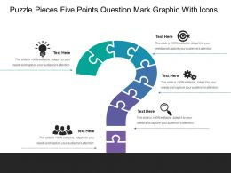 Puzzle Pieces Five Points Question Mark Graphic With Icons