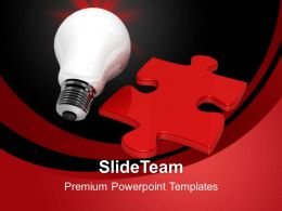 Puzzle Pieces For Powerpoint Templates Bulb And Red Process Ppt Themes
