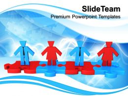 Puzzle Pieces For Powerpoint Templates Business People Standing On Teamwork Education Ppt Themes