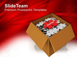 Puzzle Pieces In Box With Word Solution Powerpoint Templates Ppt Themes And Graphics 0113