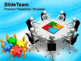 Puzzle Pieces Ppt Powerpoint Templates Person Round Table And Jigsaw Chart Slide