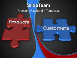 Puzzle Pieces Ppt Powerpoint Templates Products Customers Sales Slides