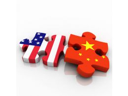 Puzzle Pieces With American And Chinese Flag Design Stock Photo