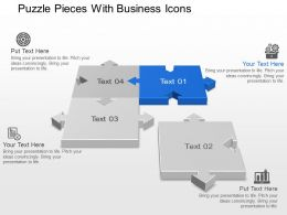 Puzzle Pieces With Business Icons Powerpoint Template Slide