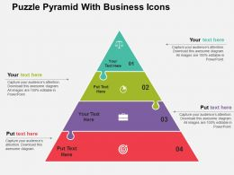 Puzzle Pyramid With Business Icons Flat Powerpoint Design