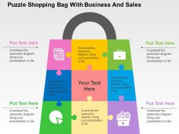 Puzzle Shopping Bag With Business And Sales Flat Powerpoint Design