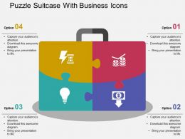 Puzzle Suitcase With Business Icons Flat Powerpoint Design