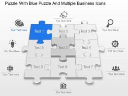 Puzzle With Blue Puzzle And Multiple Business Icons Powerpoint Template Slide