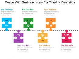 Puzzle With Business Icons For Timeline Formation Flat Powerpoint Design