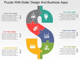 Puzzle With Dollar Design And Business Apps Flat Powerpoint Design