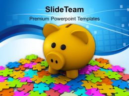Puzzles And Piggy Bank Business Powerpoint Templates Ppt Themes And Graphics