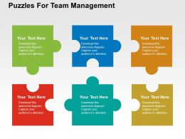 Puzzles For Team Management Flat Powerpoint Design