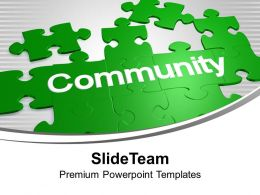 Puzzles Forming Word Community Solution PowerPoint Templates PPT Backgrounds For Slides 0113