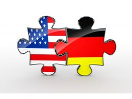 Puzzles Of Flags For America And Germany Stock Photo