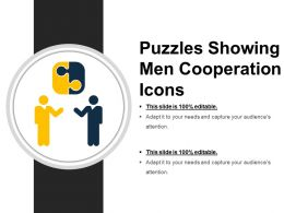 Puzzles Showing Men Cooperation Icons Ppt Samples
