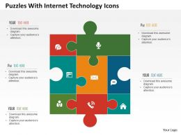 Puzzles With Internet Technology Icons Flat Powerpoint Design