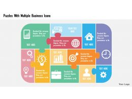 puzzles_with_multiple_business_icons_flat_powerpoint_design_Slide01