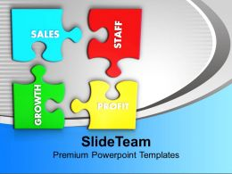 Puzzles With Sales Staff Growth Profit PowerPoint Templates PPT Themes And Graphics 0113
