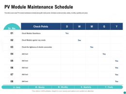PV Module Maintenance Schedule Connection Ppt Powerpoint Presentation File Icon