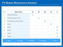 PV Module Maintenance Schedule Ppt Powerpoint Presentation Slides Show