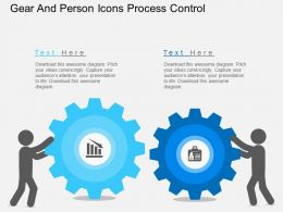 Pw Gear And Person Icons Process Control Flat Powerpoint Design