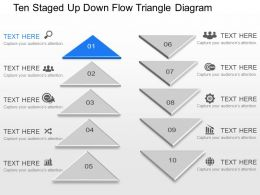 pw Ten Staged Up Down Flow Triangle Diagram Powerpoint Template