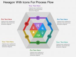 Px Hexagon With Icons For Process Flow Flat Powerpoint Design
