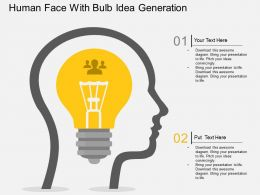 Py Human Face With Bulb Idea Generation Flat Powerpoint Design