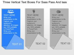 py Three Vertical Text Boxes For Saas Pass And Iaas Powerpoint Template