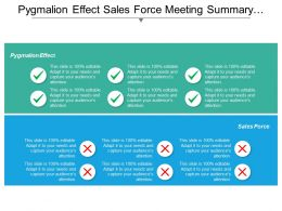 Pygmalion Effect Sales Force Meeting Summary Supply Position Cpb
