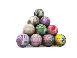 Pyramid Of Balls Showing World Currencies Stock Photo