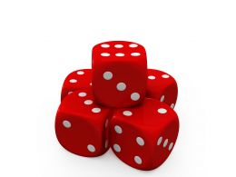 Pyramid Of Red And White Dices Showing Gaming Concept Stock Photo