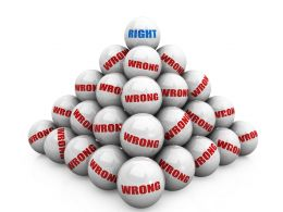 Pyramid Of Wrong Balls With Right Ball On Top Stock Photo