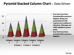 pyramid stacked column chart data driven powerpoint templates