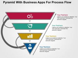 Pyramid With Business Apps For Process Flow Flat Powerpoint Design