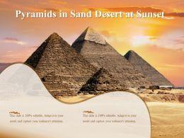 Pyramids In Sand Desert At Sunset