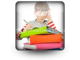Boy With Books PowerPoint Icon S