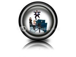 Business People On Pie Chart PowerPoint Icon Cc