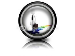 Businessman Standing On Puzzles PowerPoint Icon Cc