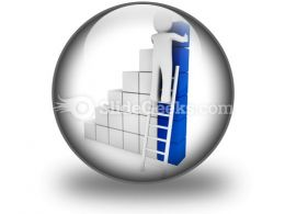 Cube Ladder Blue PowerPoint Icon C